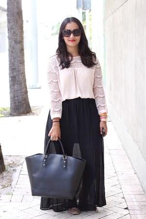 lace Forever 21 blouse - maxi skirt Forever 21 skirt - LC Lauren Conrad glasses