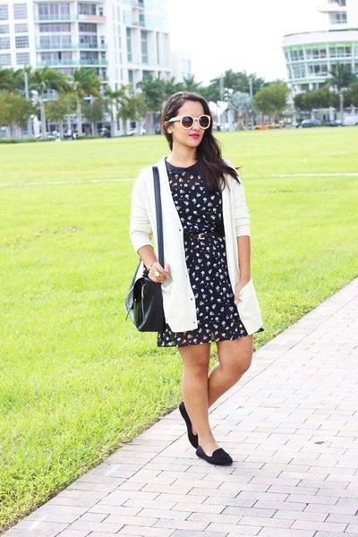 beige H&M cardigan - black Forever 21 dress