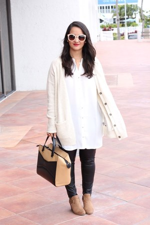 Payless boots - furor moda leggings - kate spade bag - H&M blouse - H&M cardigan