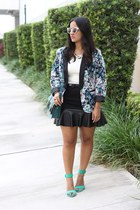 leather Forever 21 skirt - LC Lauren Conrad blazer - lace Forever 21 top