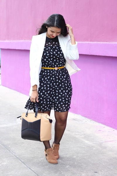 Payless boots - Forever 21 dress - H&M blazer - kate spade bag