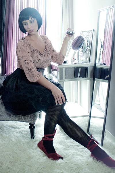 black lace vintage skirt - light pink sheer H&M blouse