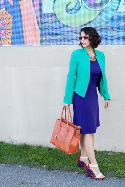 aquamarine calvin klein jacket - deep purple Ross dress - carrot orange bag