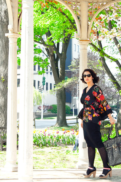 black pencil skirt asos dress - red kimono H&M jacket