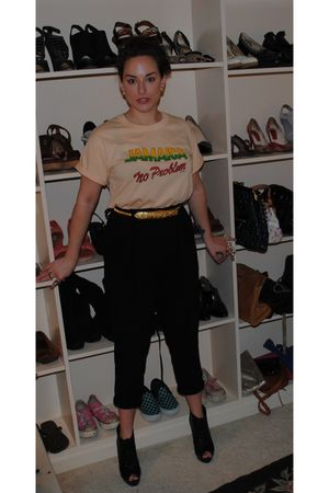 black Theory pants - black Forever 21 shoes - yellow vintage shirt - gold great