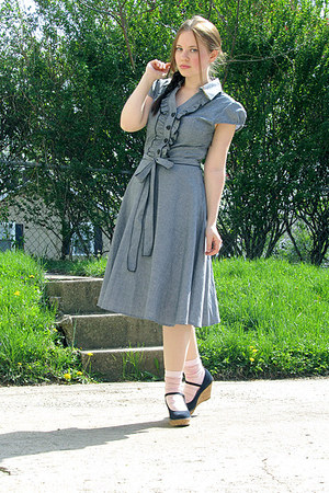 light blue a-line chambray dress - light pink striped socks - navy wedges