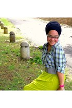 heather gray blouse - chartreuse skirt