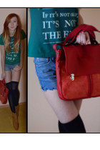 crimson Bag bag - dark brown Shoes boots - teal shorts shorts