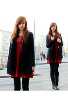 black blazer - ruby red dress - black necklace