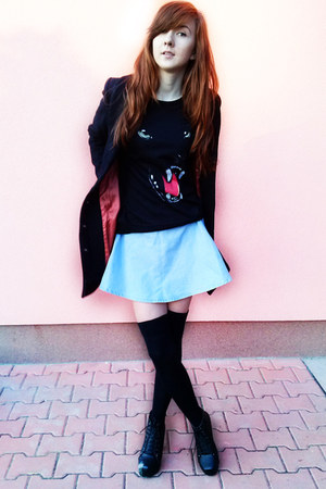 black H&M coat - black OASAP blouse - turquoise blue Prettyquide skirt