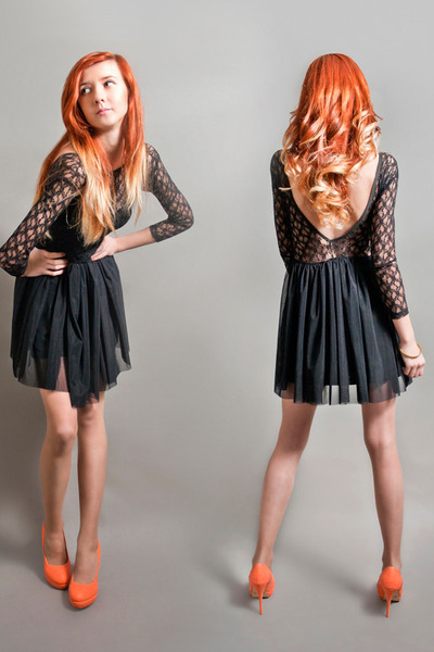 carrot orange Shoes shoes - black Dress dress