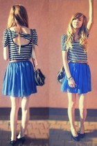 navy OASAP skirt - black Chix shoes - black Mango Fashion bag