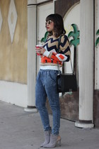 orange print sweater Adara sweater - blue blue jeans Adara jeans