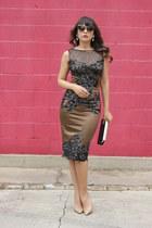 light brown lace dress Mandalay dress - camel clutch Jimmy Choo purse