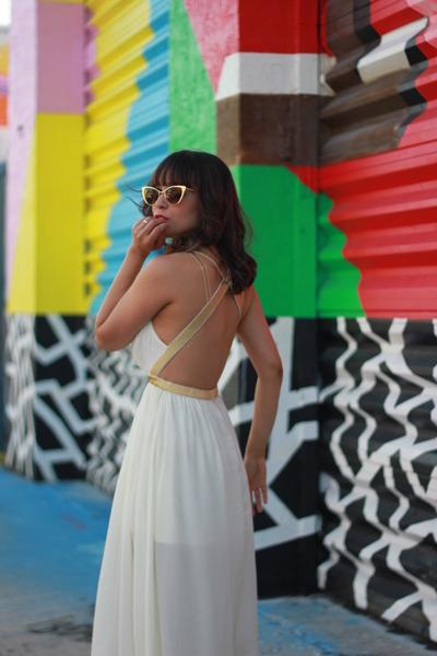 gold gold zeroUV sunglasses - beige chiffon A Divas Palace dress