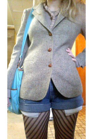 tweed thrifted blazer - diagonal stripe tights - DIY shorts - Gap top