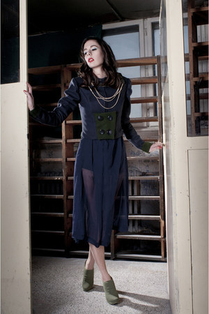 navy silk vintage dress - navy Sparklina Design coat