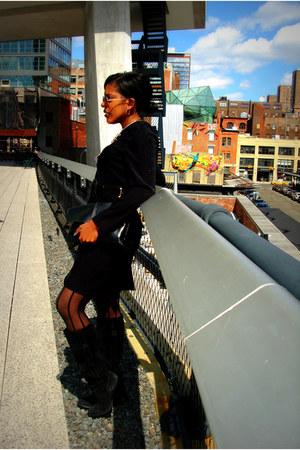 suede Michael Kors boots - suede Market Publique dress - fishnet romwe tights -