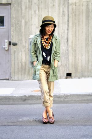 brown UO hat - brown Pink Studio shoes - green J Crew jacket