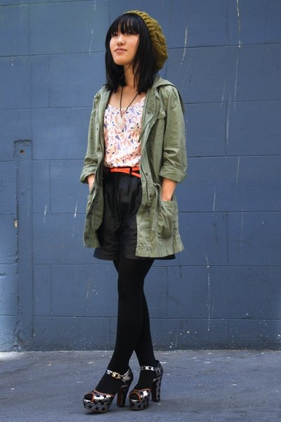 pink f21 blouse - silver Chie Mihara shoes - gold UO hat - green J Crew jacket