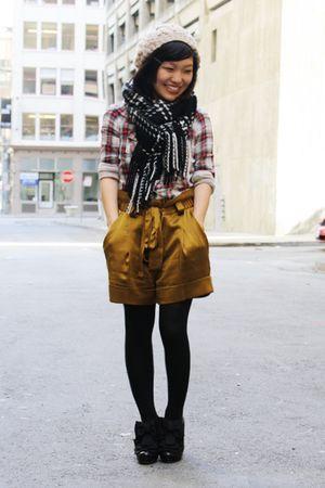 beige H&M hat - black banana republic scarf - red Gap shirt - gold robert rodrig