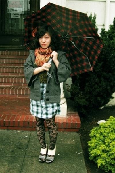 Gap - BB Dakota jacket - vintage scarf - Betsey Johnson tights - PLV shoes - Phi