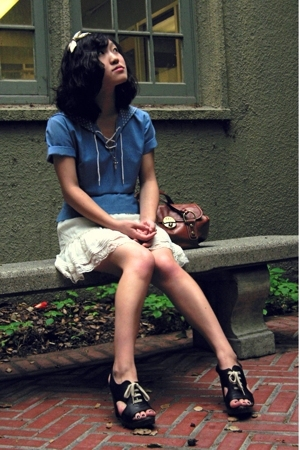 beige H&M shirt - black Chie Mihara shoes - brown leather Francesco Biasia purse
