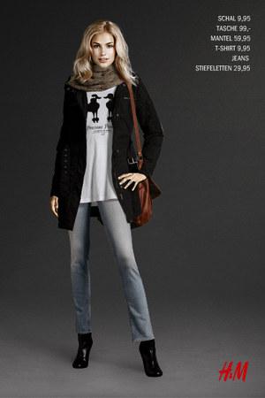 black H&M boots - periwinkle H&M jeans - black H&M jacket