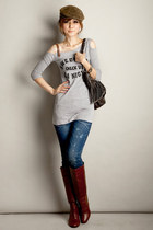crimson Buffalo boots - blue Tally Weijl jeans - dark khaki no name hat