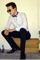 black slacks H&M pants - white tuxedo ruffles Chaplin shirt
