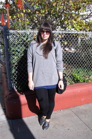 brown Chloe glasses - gray acne sweater - blue Helmut Lang top - black American