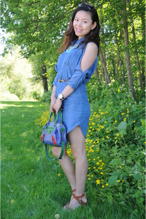 balenciaga bag - blue denim dress Guess dress