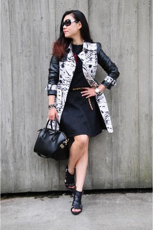 black trench coat Bebe coat - black Givenchy bag - black Zara sweatshirt