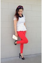 Forever21 top - red Zara leggings - black Michael Kors pumps