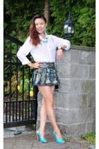 navy skirt - white cotton shirt H&M shirt