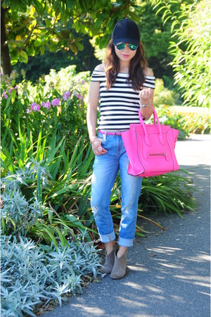 hot pink Celine bag - blue boyfriend Zara jeans - black striped Zara top