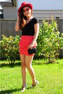 Red-forever21-skirt-black-misssixty-top-off-white-patent-heels-guess-heels