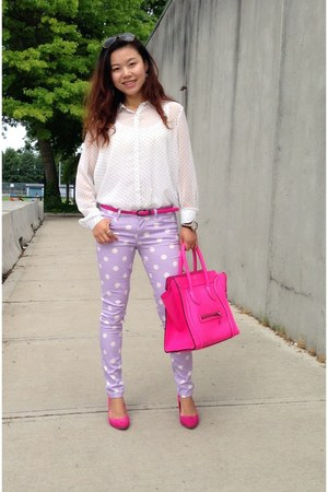 light purple Forever21 jeans - hot pink Celine bag