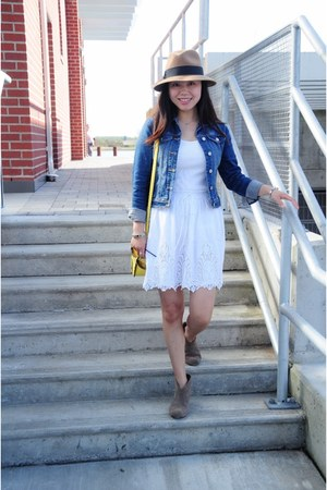 white lace Joe Fresh skirt - blue denim Old Navy jacket
