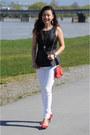Black-forever21-top-white-skinny-jeans-bebe-jeans-red-forever21-bag