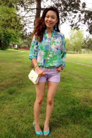 silk blouse spense blouse - light purple twill shorts Forever21 shorts
