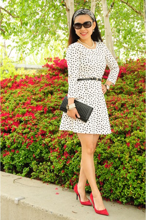 white polka dot Gap dress - red Guess pumps