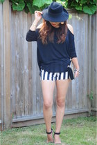black striped Forever 21 shorts - black Forever 21 top