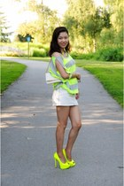 off white denim skirt Zara skirt - lime green Forever21 top