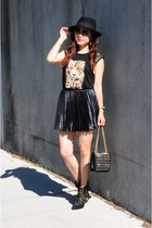 black pleated skirt H&M skirt - black studded boots Bebe boots