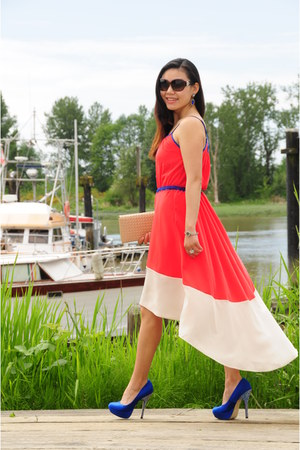 red high-low Willow & Clay dress - dark brown dior sunglasses