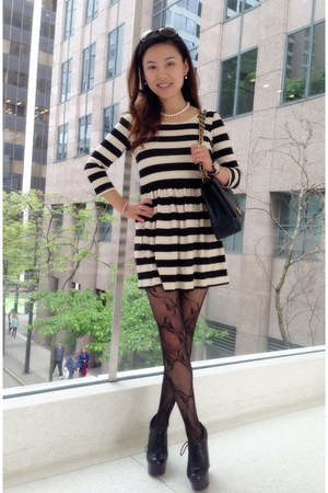striped dress H&M dress - black leather wedges Aldo wedges