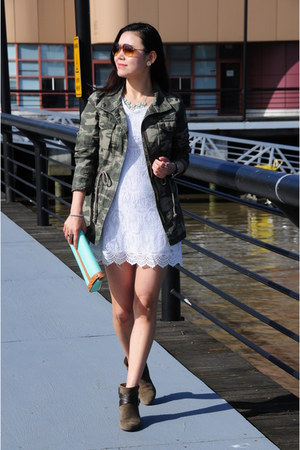 white lace H&M dress - dark khaki army Old Navy jacket