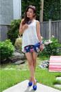 White-forever21-top-forever21-skirt-blue-steve-madden-pumps