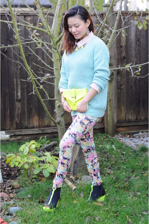 aquamarine knit sweater Forever21 sweater - floral leggings H&M leggings